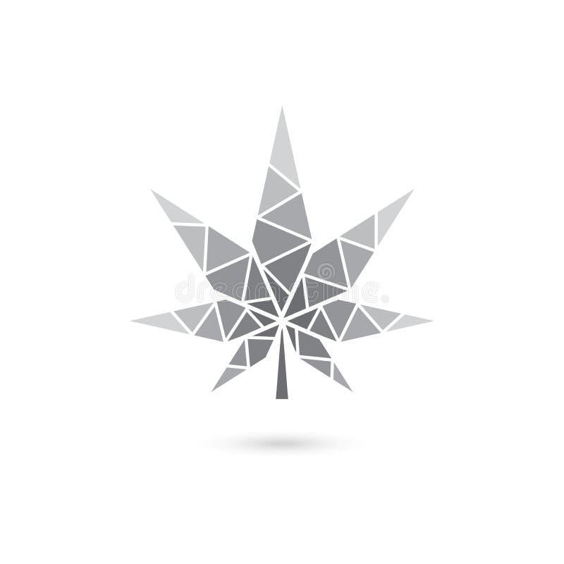 Gray scale marijuana leaf, geometric leaf vector design stock illustration