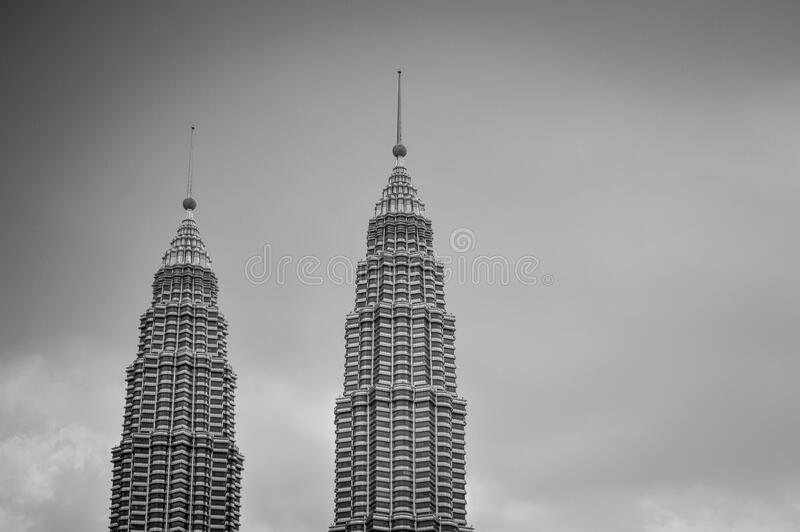 Gray Scale Photo of 2 High Rise Building royalty free stock image