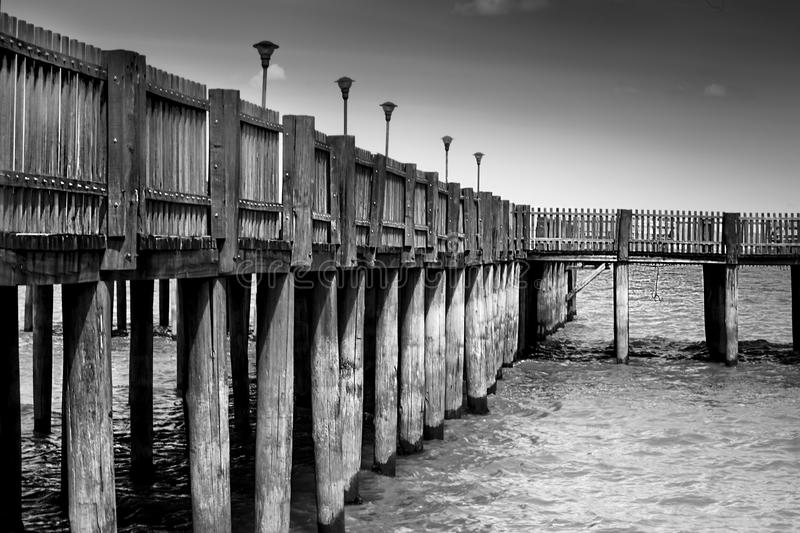 Gray Scale Photo of a Dock stock photography