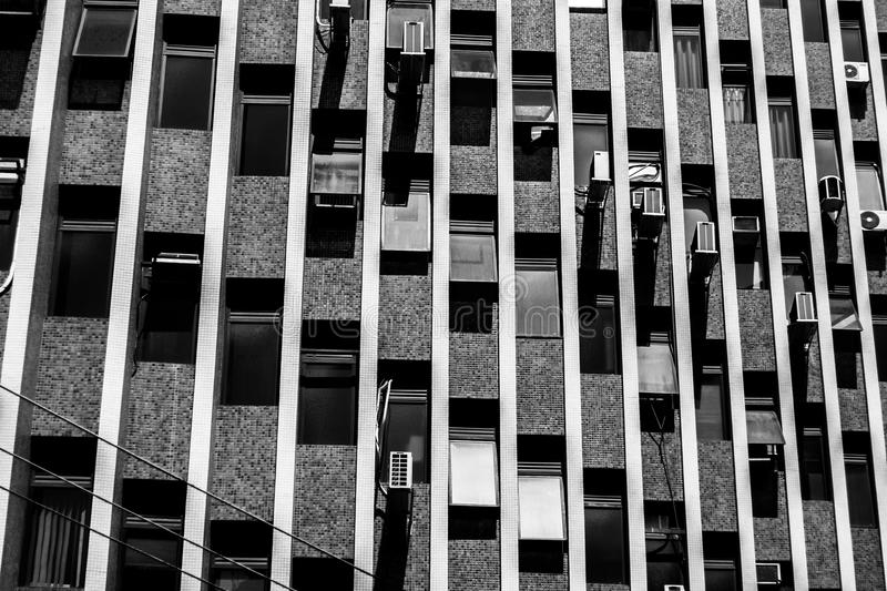 Gray Scale Photo of High-rise Building stock images