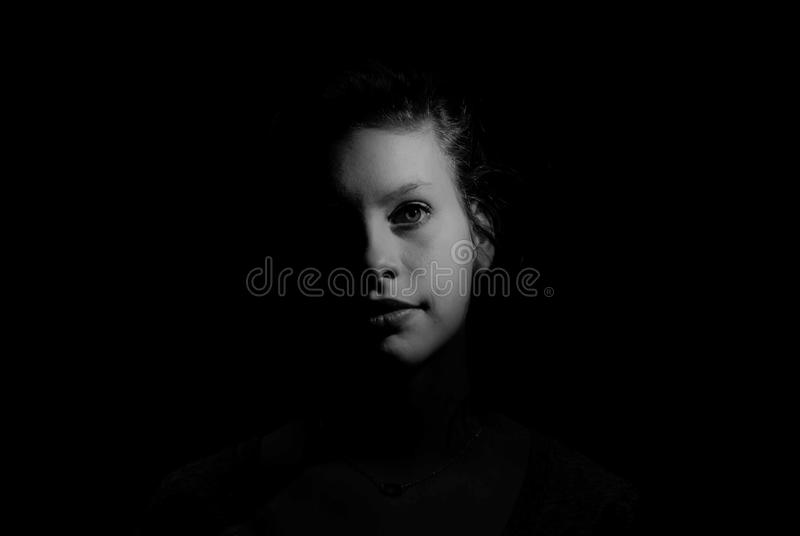 Gray Scale Photo of Woman royalty free stock images