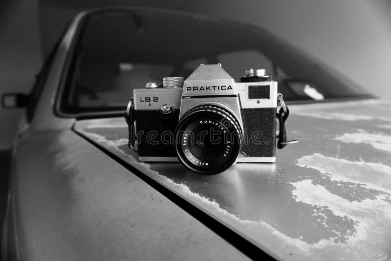 Gray Scale Photography of Silver and Black Praktica Dslr Camera royalty free stock photos
