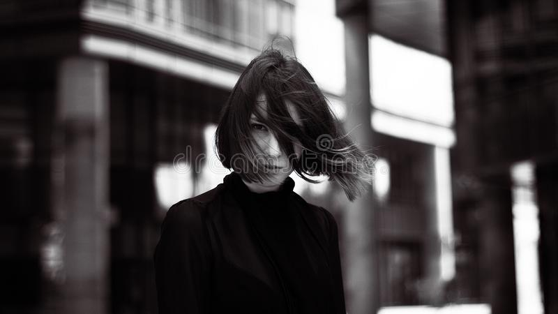 Gray Scale Photography of Woman stock images