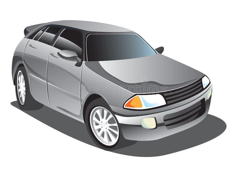 Gray Sedan Car Cartoon. Vector illustration of elegant grey sedan car in cartoon style vector illustration