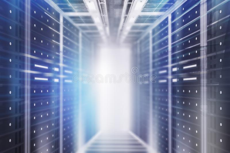Gray server room interior background. Interior of server room with gray glowing light. Concept of hi tech, big data and cloud computing in business. 3d rendering royalty free illustration