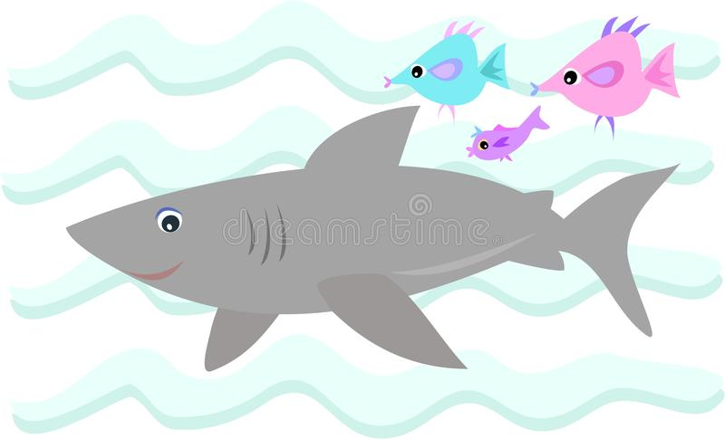 Gray Shark with Fish Friends