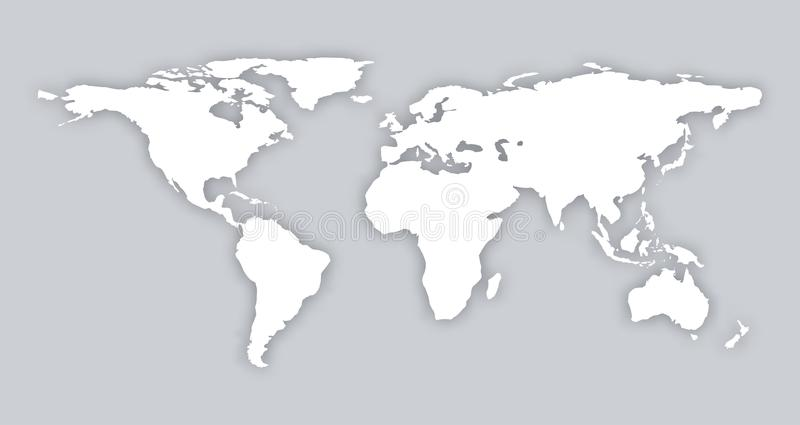 Gray similar world map blank flat template object eps infographic art card stock. world map with soft shad royalty free illustration