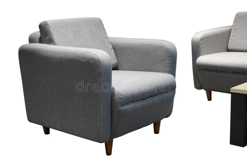 Gray single sofa in modern style isolated on white.  stock photography