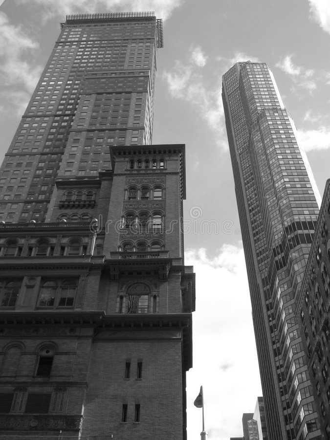 Gray skyscrapers nyc royalty free stock photos