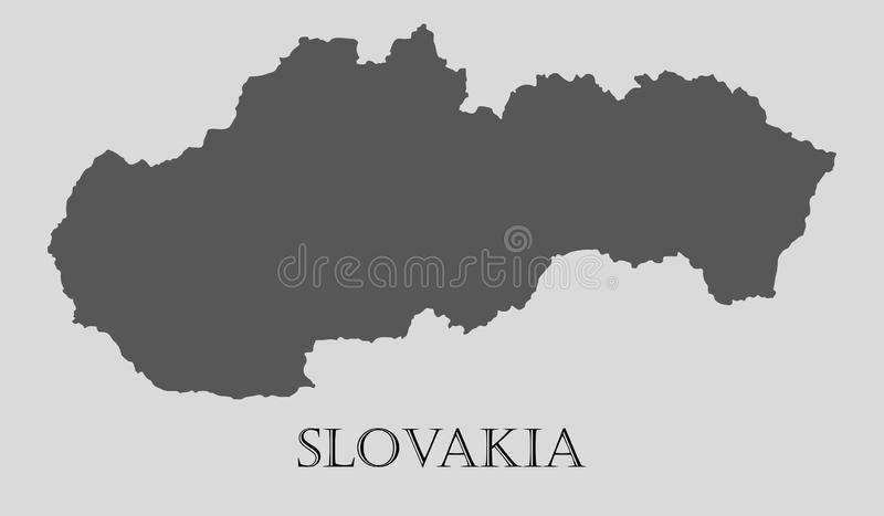 Gray Slovakia översikt - vektorillustration royaltyfri illustrationer