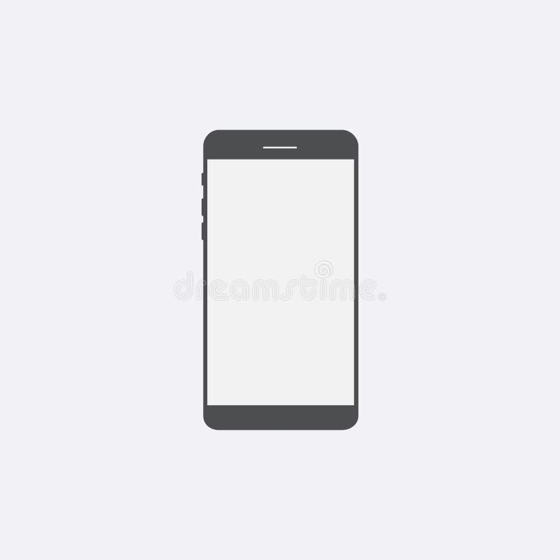 Gray Smartphone-pictogram met het geïsoleerde lege scherm Modern eenvoudig F royalty-vrije illustratie