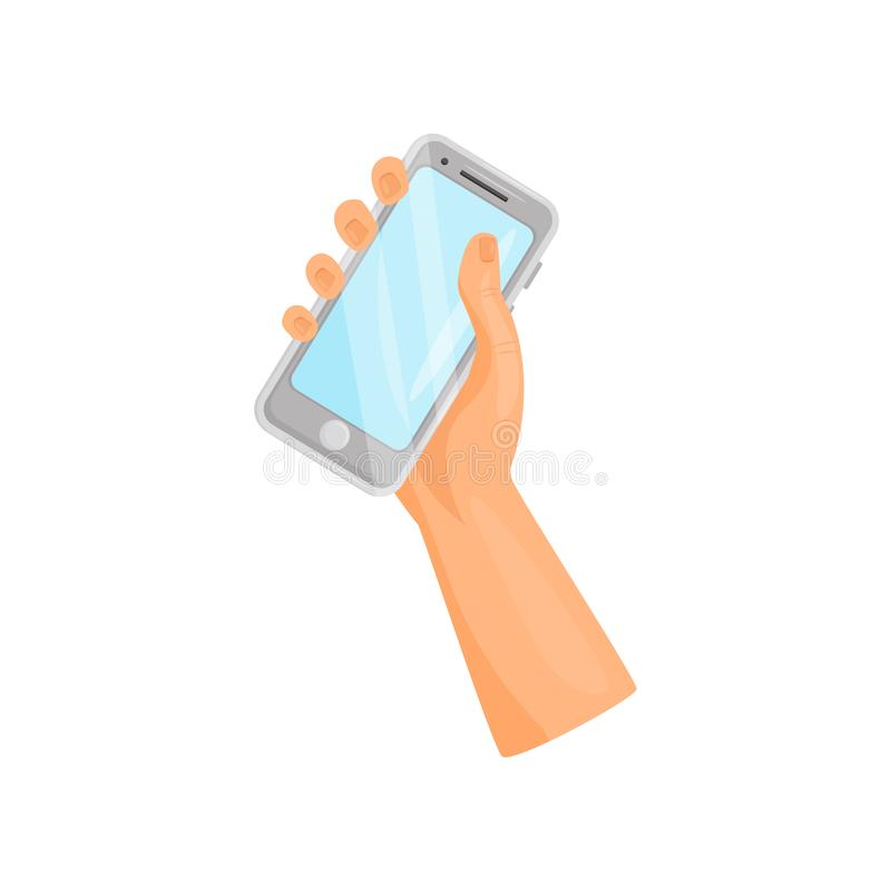 Gray smartphone in right human hand. Mobile phone with touch screen. Gadget for communication. Flat vector icon. Gray smartphone in right human hand. Modern vector illustration