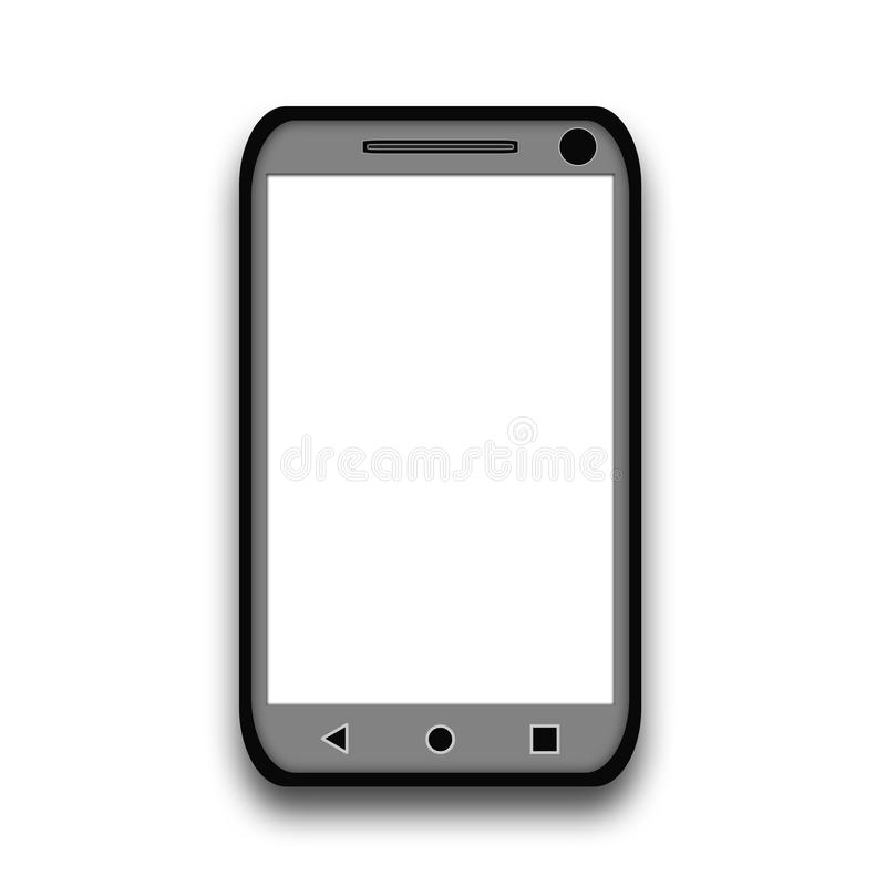Gray smartphone with white screen isolated on white. Background stock illustration