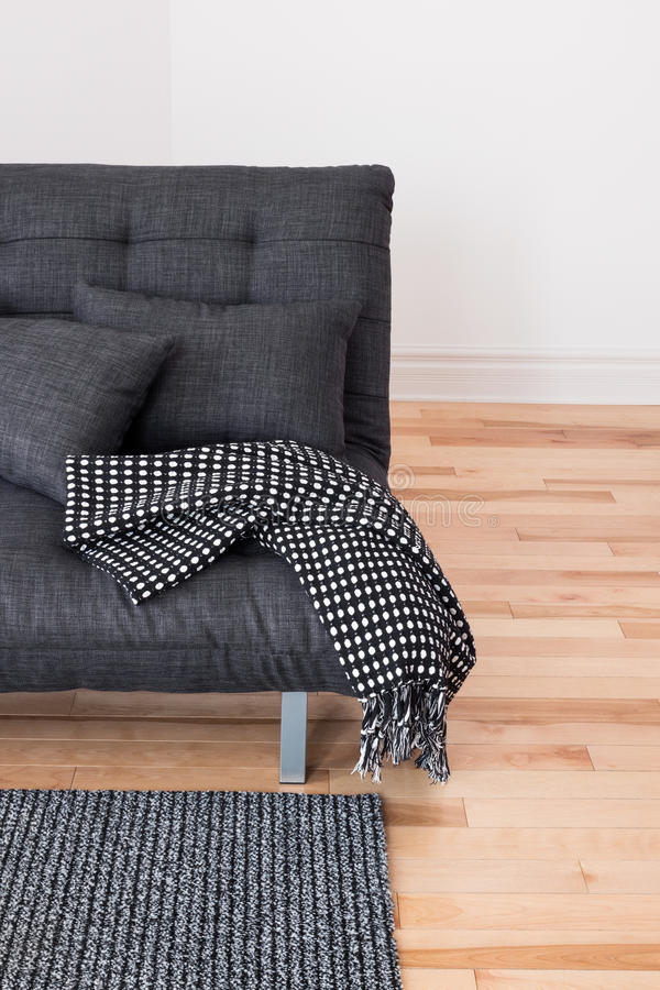 Download Gray Sofa With Cushions And Throw Stock Photo - Image: 28397162