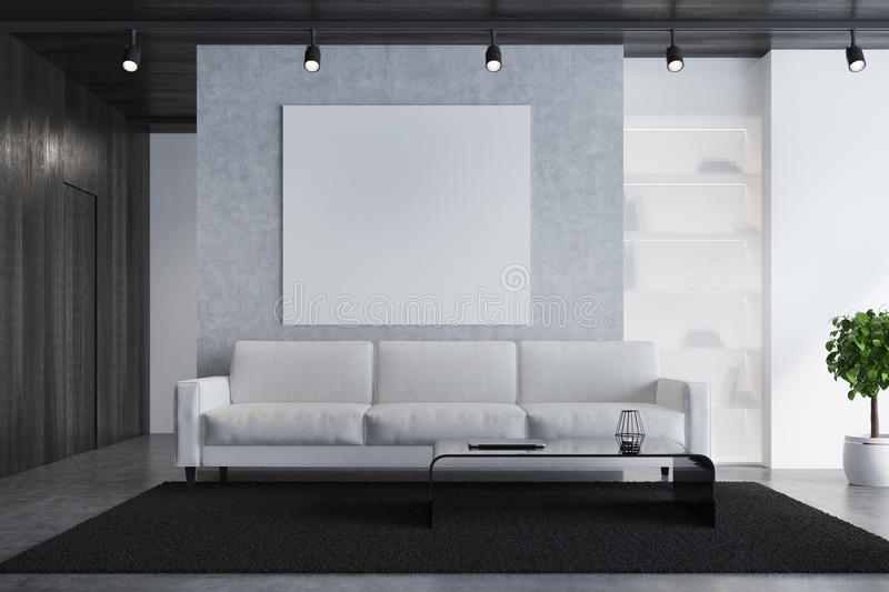 Gray sofa living room with a poster, close up. Concrete living room interior with a light gray sofa, a white armchair, a square poster, a modern coffee table and royalty free illustration