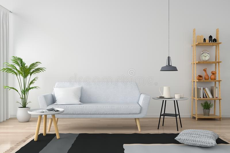 Gray sofa in white living room, 3D rendering. Gray sofa and pillow in white living room, 3D rendering royalty free stock photos