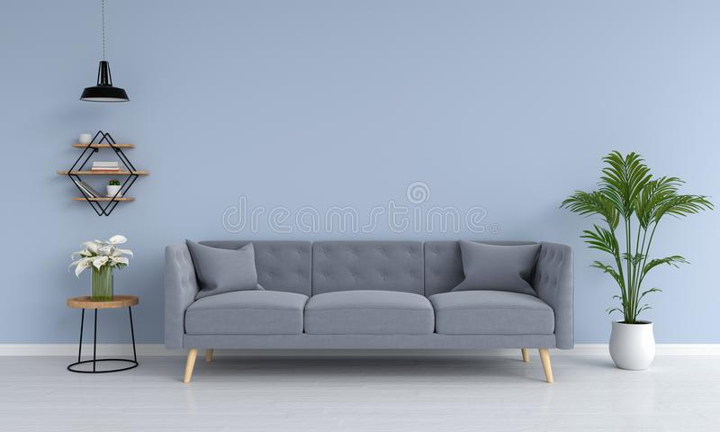 Gray sofa and ramp, plant, table, in living room, 3D rendering vector illustration