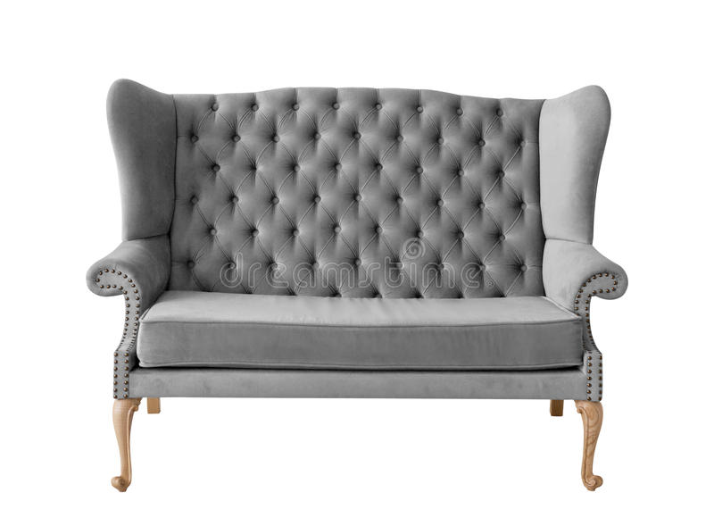 Gray soft sofa with fabric upholstery isolated on white. Background stock images
