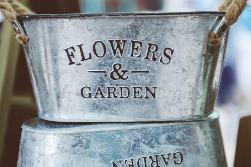 Gray Steel Flower And Garden Bucket Free Public Domain Cc0 Image