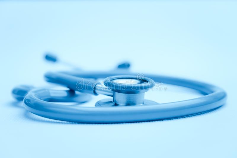 Stethoscope medical equipment on white canvas. instruments device for doctor. medicine concept stock photos