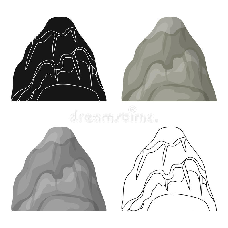 Gray stone mountain. A mountain in which mined minerals.Different mountains single icon in cartoon style vector symbol. Stock web illustration stock illustration