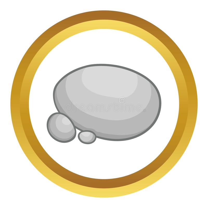 Gray stones icon. In golden circle, cartoon style isolated on white background stock illustration
