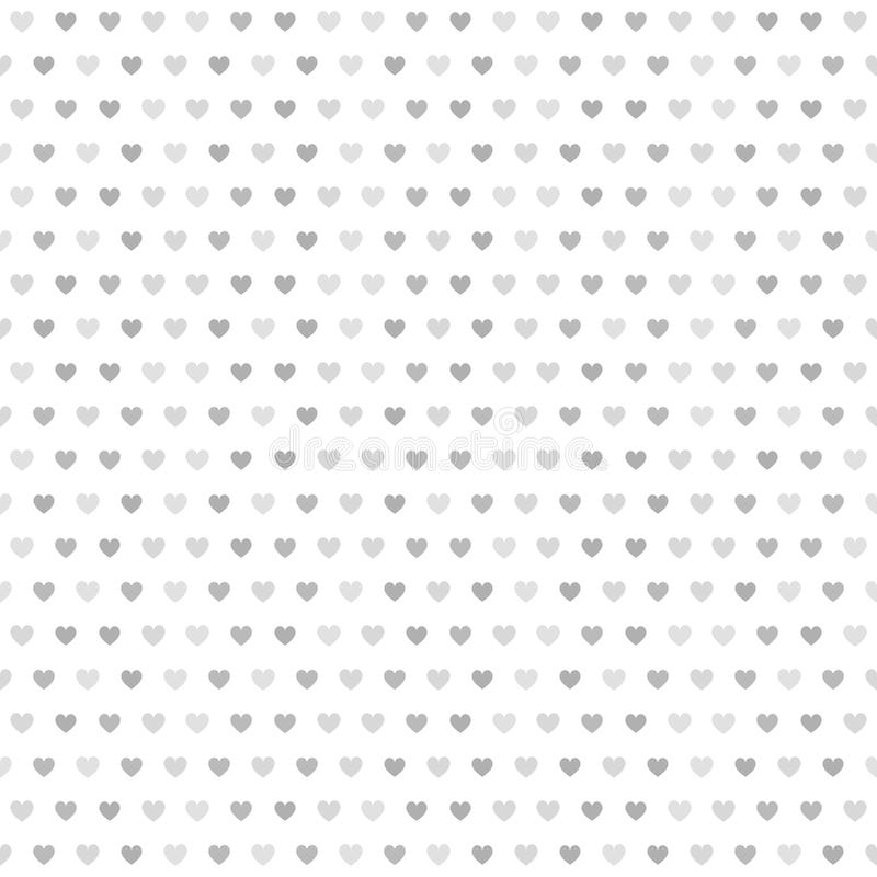 Gray striped heart pattern. Seamless vector background. Dark and light gray hearts of different size on white backdrop royalty free illustration