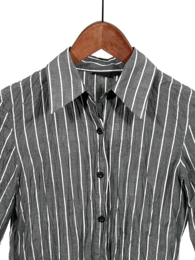 Download Gray Striped Shirt On Wooden Hanger Stock Image - Image: 1769807