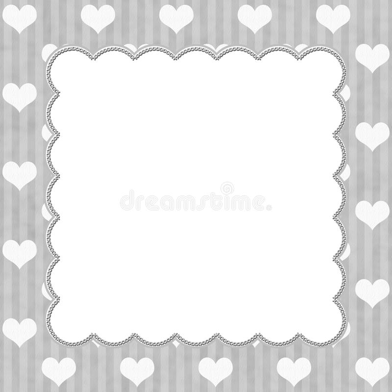 Gray Stripes and White Hearts background stock illustration