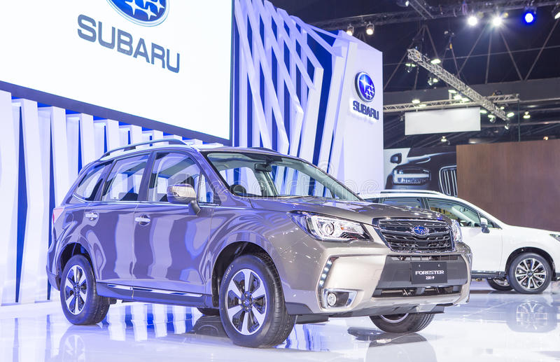 Gray Subaru series Forester. Bangkok - March 22 : gray Subaru series Forester - in display at The 37th Bangkok international Motor Show 2016 on March 22, 2016 in royalty free stock photography