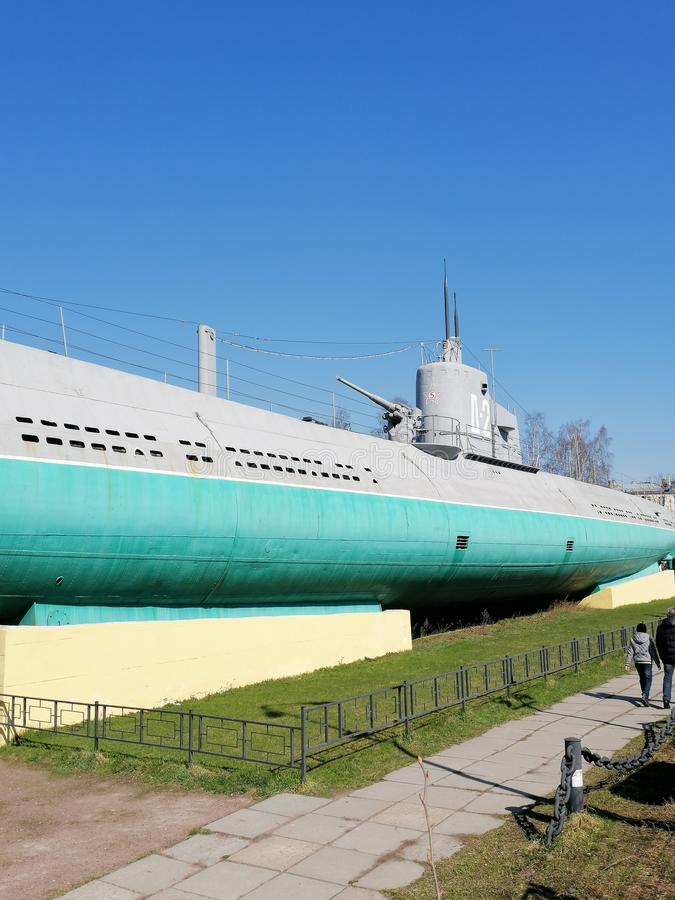 submarine on a pedestal in the square royalty free stock photography