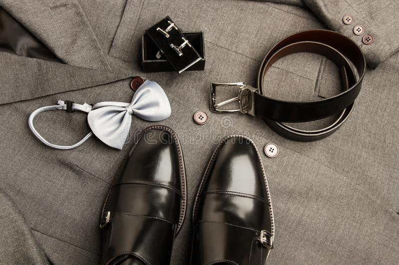Gray suit and black shoes royalty free stock photo