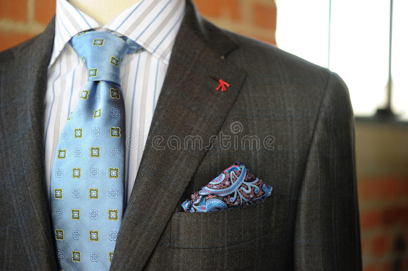 Gray Suit with Blue Pinstriping and boutonniere stock photography