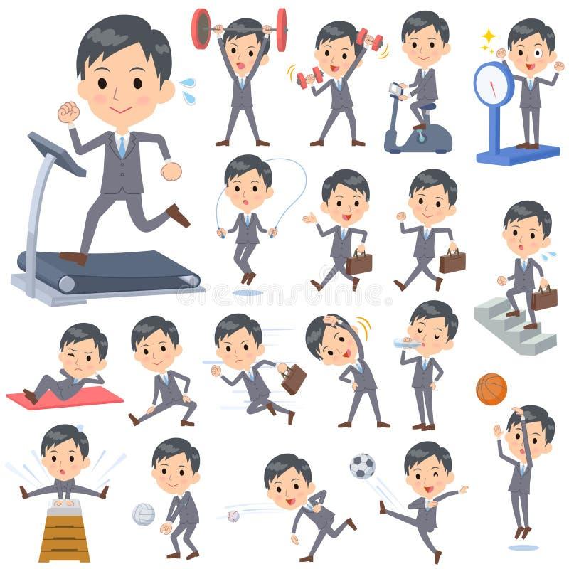 Gray Suit Businessman Sports & exercício ilustração do vetor