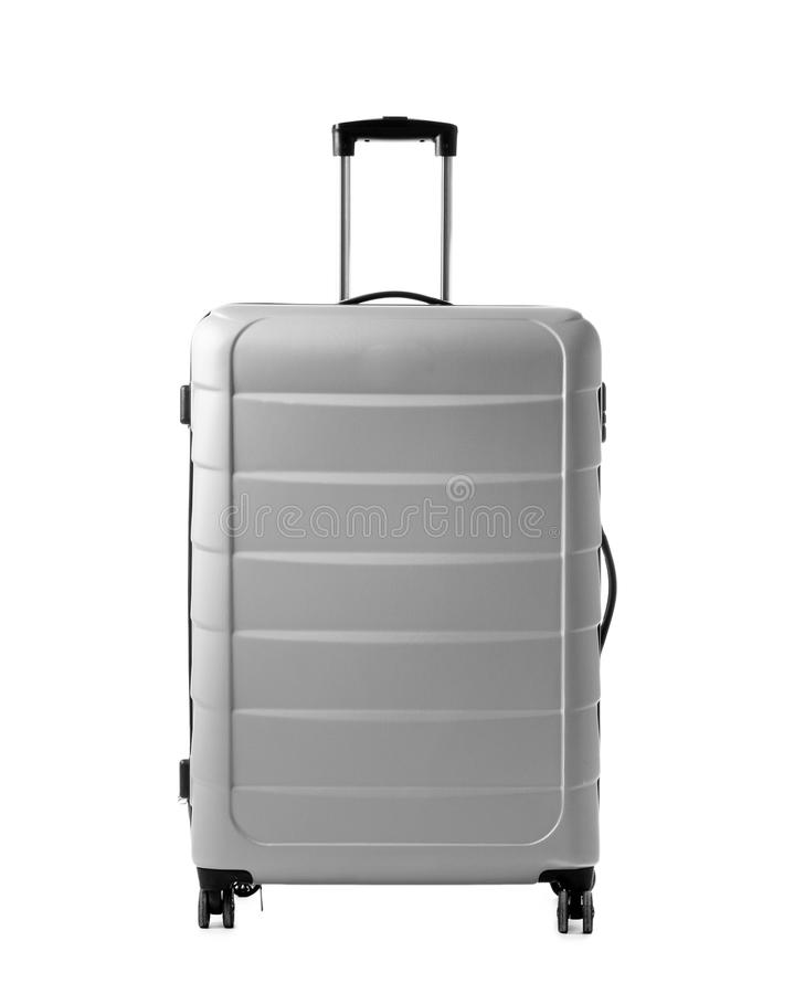 Gray Suitcase no fundo branco imagem de stock royalty free