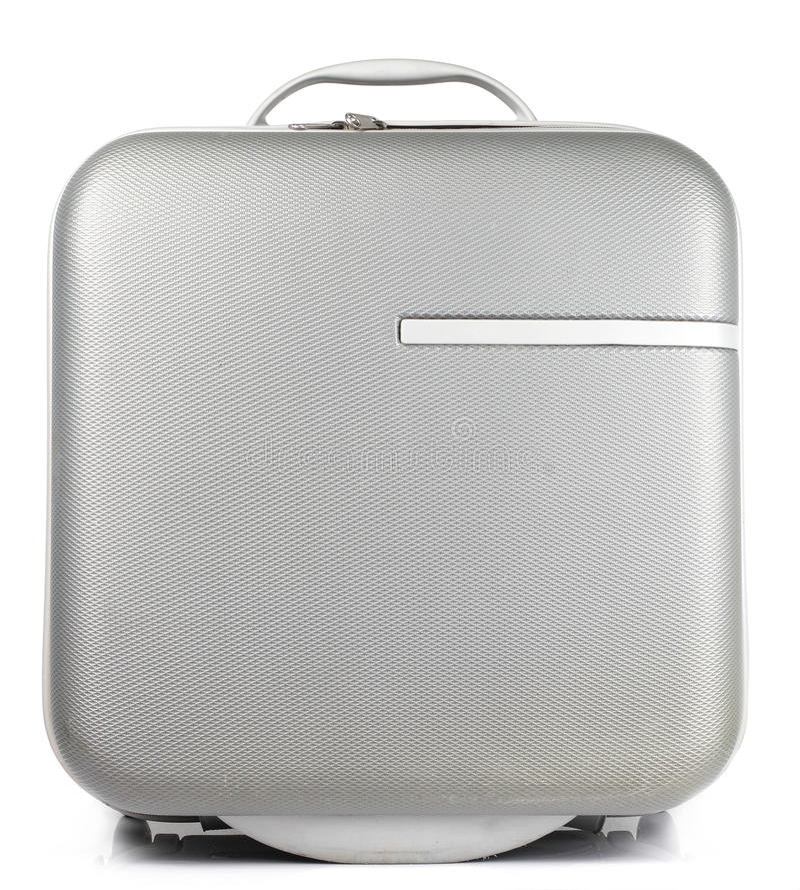Gray Suitcase no fundo branco fotografia de stock