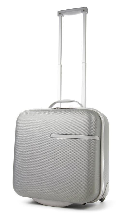 Gray Suitcase no fundo branco foto de stock