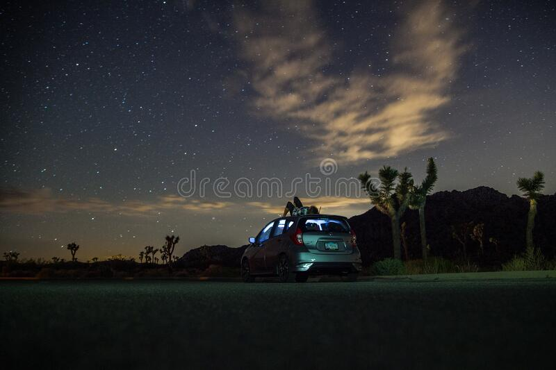 Gray Suv Under Blue Starry Sky During Nighttime Free Public Domain Cc0 Image