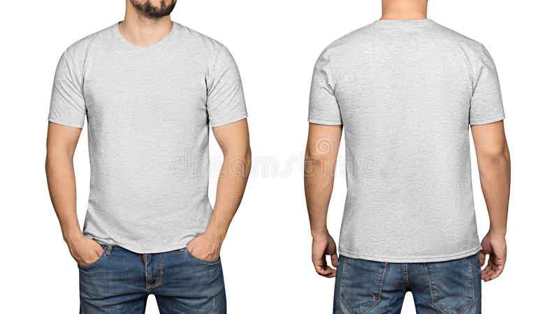 Gray t-shirt on a young man white background, front and back stock image