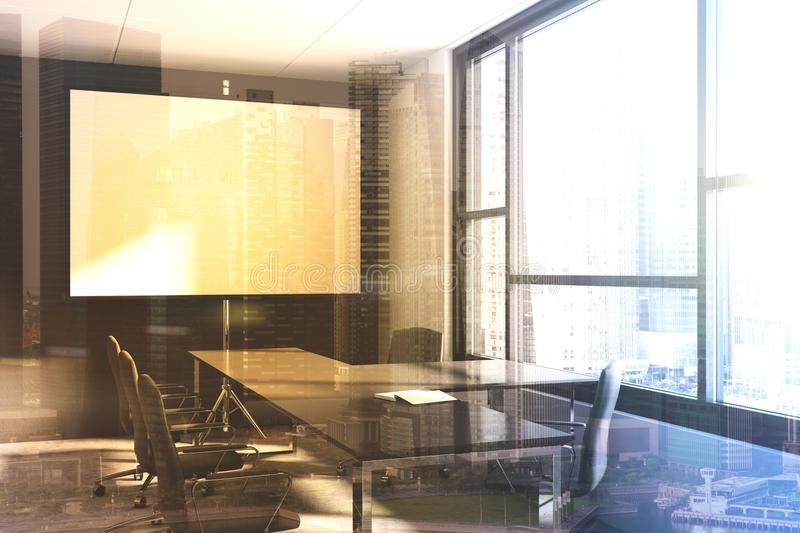 Gray Table Meeting Room With Poster Toned Stock Illustration ...