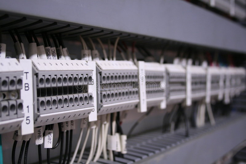 Gray terminal blocks stock images