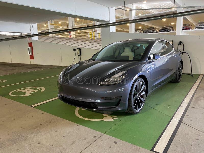 Tesla Model S charging editorial stock photo. Image of ...