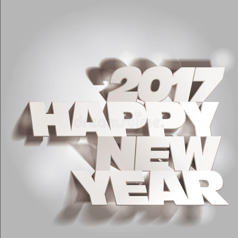 2017 Gray Tone Paper Folding met Brief, Gelukkig Nieuwjaar vector illustratie