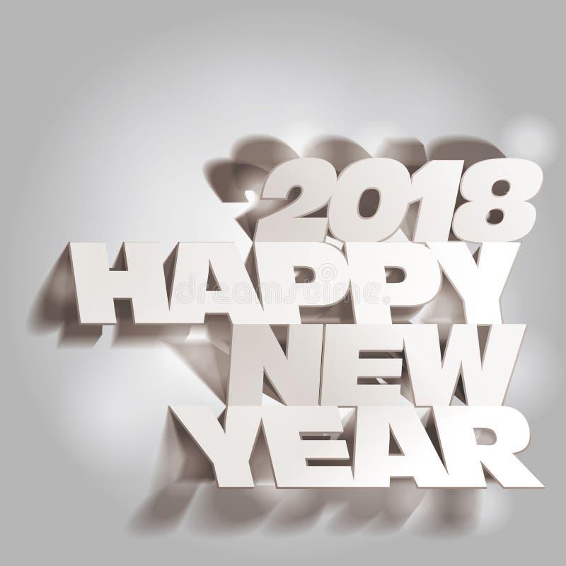 2018 Gray Tone Paper Folding met Lette, Gelukkig Nieuwjaar royalty-vrije illustratie