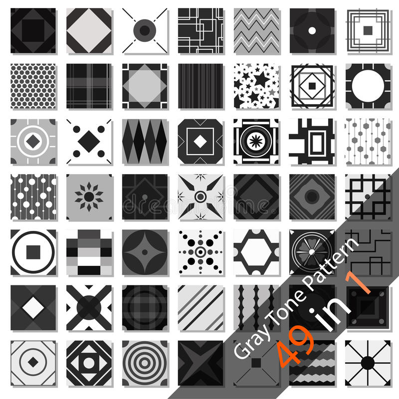 Gray Tone Set Pattern ilustração stock