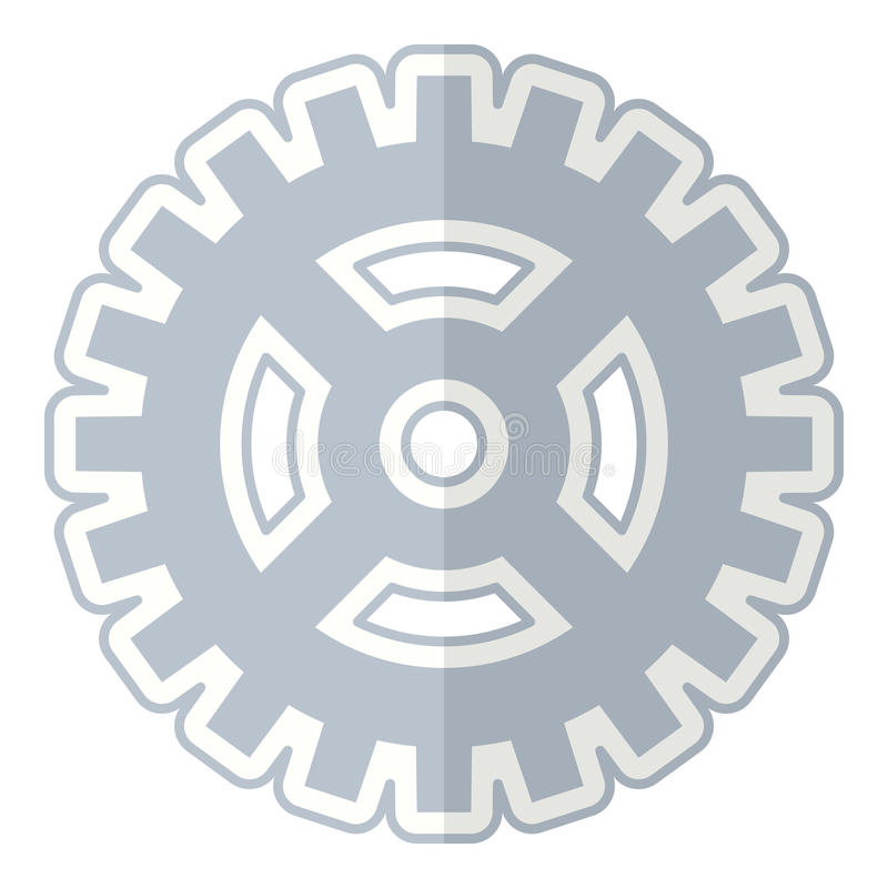 Abstract Gear Wheel Flat Icon on White vector illustration