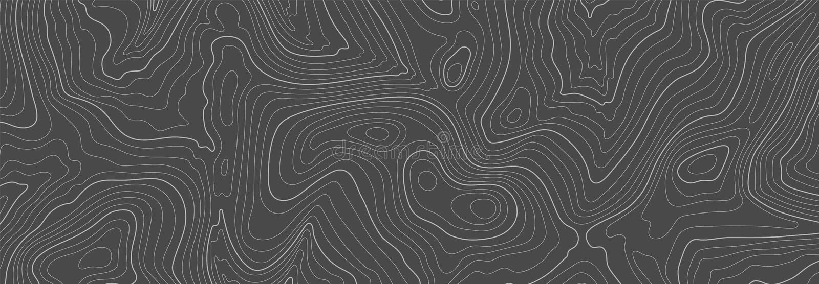 Gray topographic line contour map background, geographic grid map stock photos