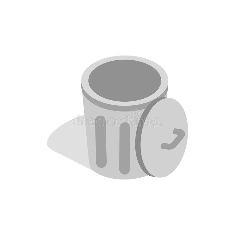 Gray trash can with open lid icon. In isometric 3d style on a white background stock illustration