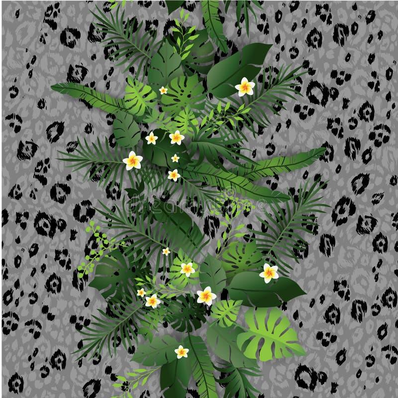 Gray Tropical Flowers e folhas ilustração do vetor