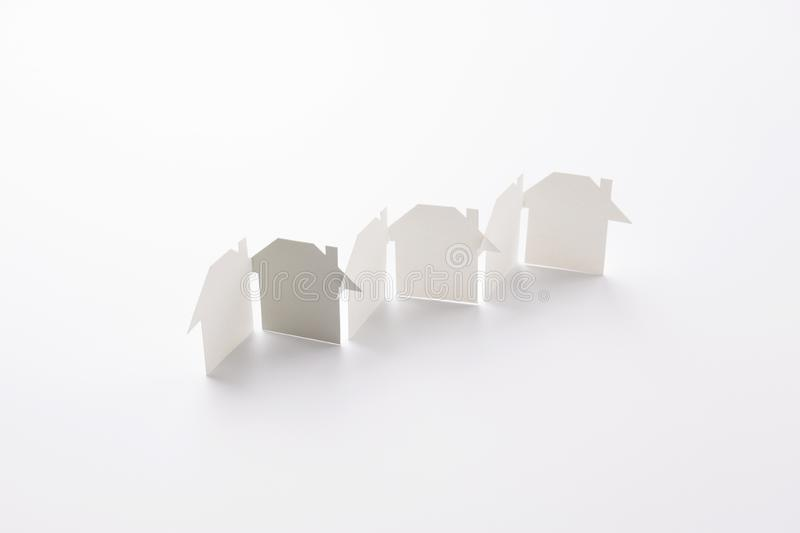Gray in unity paper house row royalty free stock photos